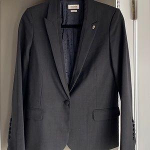 Zadig & Voltaire dark gray wool blend blazer, 36